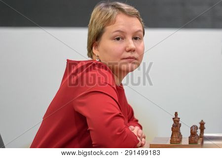 ST. PETERSBURG, RUSSIA - DECEMBER 30, 2018: Grandmaster Valentina Gunina, Russia competes in King Salman World Blitz Chess Championship 2018. Eventually she took 4th place