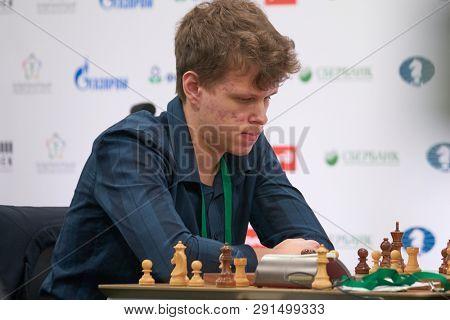 ST. PETERSBURG, RUSSIA - DECEMBER 28, 2018: Grandmaster Vladislav Artemiev, Russia competes in King Salman World Rapid Chess Championship 2018. Eventually he took 4th place