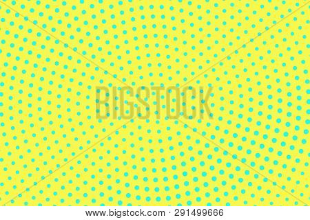 Yellow Blue Color Halftone Vector Background. Sparse Halftone Texture. Centered Dotwork Gradient. Vi