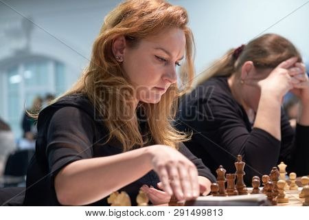 ST. PETERSBURG, RUSSIA - DECEMBER 29, 2018: Grandmaster Elina Danielian, Armenia competes in King Salman World Blitz Chess Championship 2018. Eventually she took 65th place
