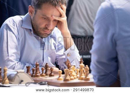 ST. PETERSBURG, RUSSIA - DECEMBER 29, 2018: Grandmaster Levon Aronian, Armenia competes in King Salman World Blitz Chess Championship 2018. Eventually he took 4th place