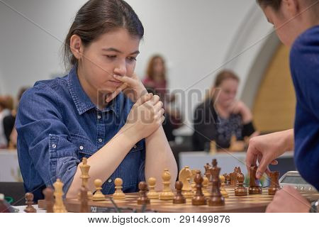 ST. PETERSBURG, RUSSIA - DECEMBER 29, 2018: Grandmaster Aleksandra Goryachkina, Russia competes in King Salman World Blitz Chess Championship 2018. Eventually she took 6th place