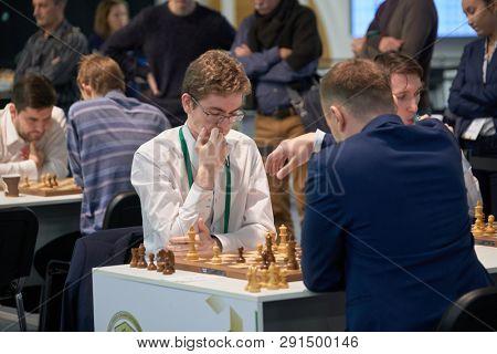 ST. PETERSBURG, RUSSIA - DECEMBER 28, 2018: Grandmaster David Anton Guijarro, Spain (left) competes in King Salman World Rapid Chess Championship 2018. Eventually he took 14th place