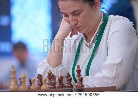 ST. PETERSBURG, RUSSIA - DECEMBER 30, 2018: Women Grandmaster Zeinab Mamedjarova, Azerbaijan competes in King Salman World Blitz Chess Championship 2018. Eventually she took 10th place