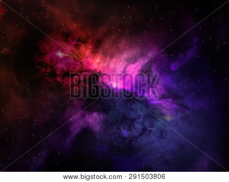 Landscape Background Of Fantasy Alien Galaxy With Purple Red And Blue Violet Glowing Clouds And Star