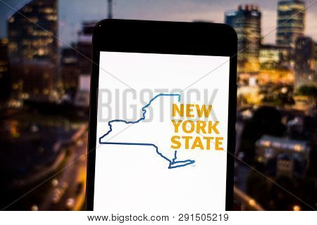 March 25, 2019, Brazil. Logo Of The Government Of The State Of New York On The Mobile Device. New Yo