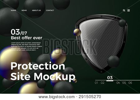 Vector Realistic 3d Protection Site Template With Shield On Dark Modern Site With Typographic Backgr