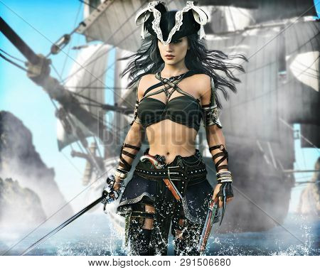 Portrait Of A Pirate Female Coming Ashore . 3d Rendering