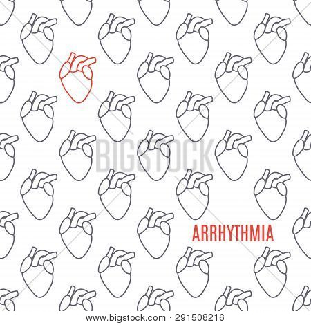 Arrhythmia Heart Icon Patterned Poster On White Background