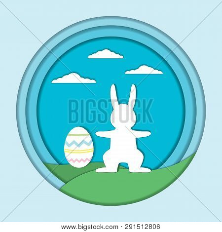 Vector Easter Card Template. Easter Holiday Illustration With  A Rabbit And Egg On A Green Hills, Cl