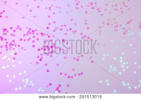 Holographic Stars On Trendy Pink Background. Festive Backdrop For Your Projects.