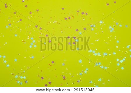 Golden Sparkles On Trendy Background. Festive Backdrop For Your Projects.