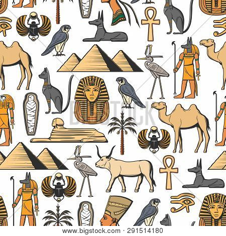 Egypt Religion Vector Seamless Pattern Of Ancient Egyptian Symbols. Nefertiti And Ra, Anubis And Pyr