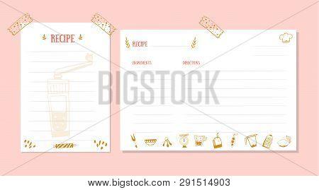 Modern Recipe Card Template For Cookbook. Menu Creator Vector Illustration. Kitchen Food Template