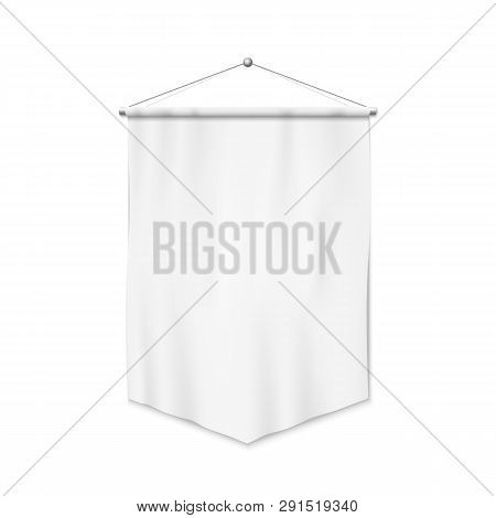 White Pennant Template. Realistic Empty Blank Pennant. Isolated Vector Illustration On White Backgro