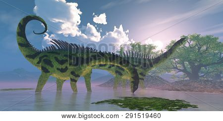Agustinia Dinosaur Swamp 3d Illustration - Agustinia Dinosaurs Wade In A Wetland Swamp Full Of Banya