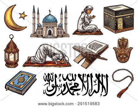 Islam Religion Sketch Icons Of Holy Symbols. Crescent Moon, Star And Ramadan Lantern, Mosque, Holy Q
