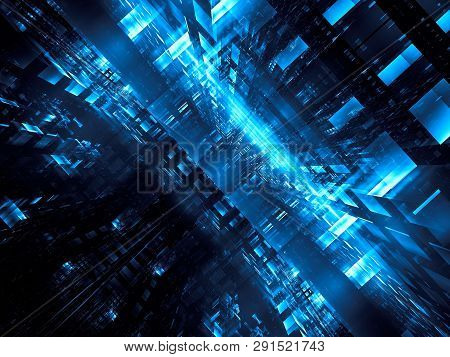 Abstract Futuristic Portal Or Data Center - Computer-generated 3d Illustration. Fractal Art: Vr Or S