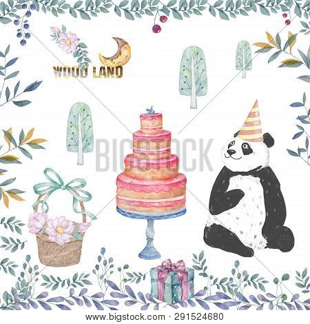 Cute Panda Cartoon Tasty Card, Cake, Wooden Basket And Floral Beauty Flowers Leaves Illustration For