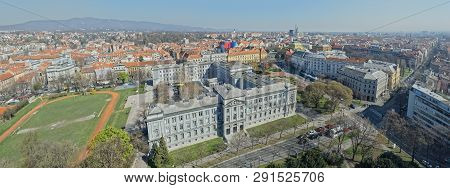 Zagreb, Croatia - March 22, 2019: Panorama Of The City Center With The Mimara Museum In The Front On