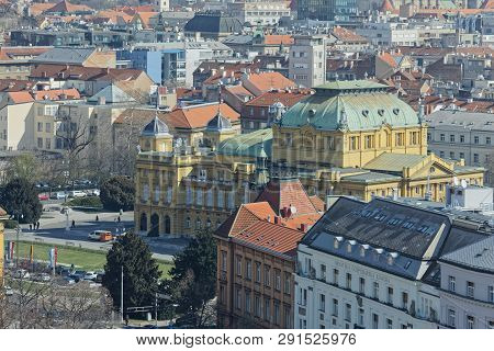 Zagreb, Croatia - March 22, 2019: Panorama Of The City Center With A View To The Croatian National T