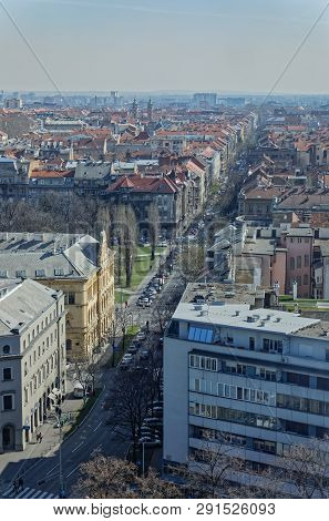 Zagreb, Croatia - March 22, 2019: Panorama Of The City Center With A View To The Street Jurja Zerjav