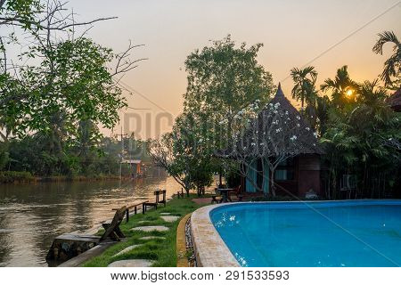 The Hut Beside Of Canel And Pool In The Countryside, Traveling In Thailand