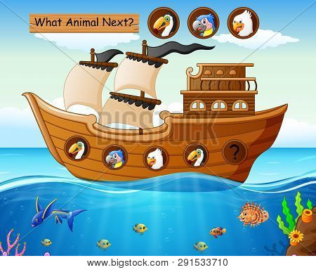 Wood Boat Sailing With A Animals Theme