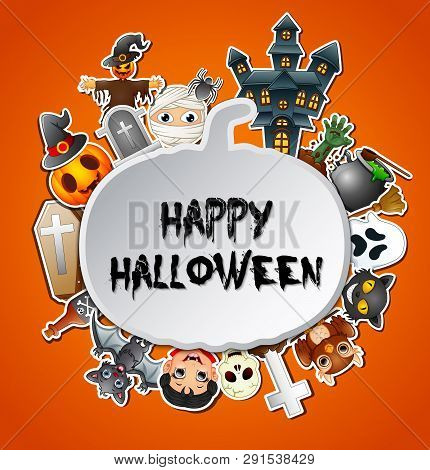 Illustration Of Happy Halloween Card Celebrations Pumpkins Silhoutte