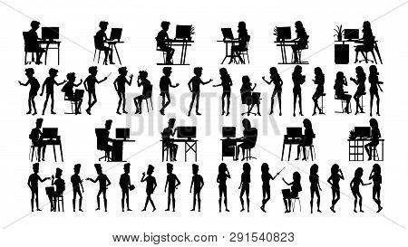 Business People Silhouette Set . Man, Woman. Group Outline. Person Shape. Professional Team. Formal