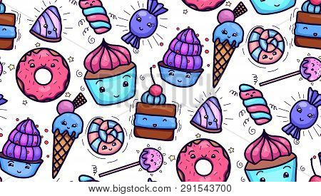 Seamless texture with cute, kawai sweets and confection on white background. Vector pattern for textiles, fabrics, wrapping paper, cards and for your design poster