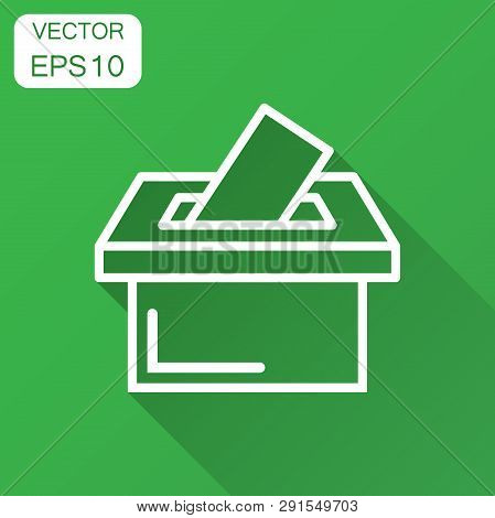 Election Voter Box Icon In Flat Style. Ballot Suggestion Vector Illustration With Long Shadow. Elect