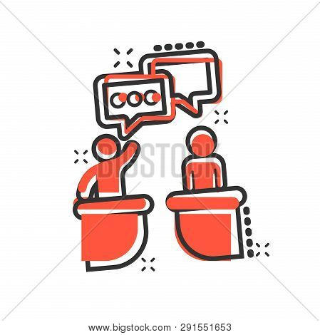 Politic Debate Icon In Comic Style. Presidential Debates Vector Cartoon Illustration Pictogram. Busi