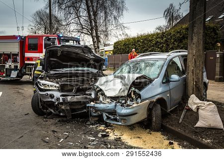Car Accident On A Road In March 21, 2019, Cars After Frontal Collision Between Bmw And Chevrolet In