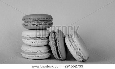 Macaroon Biscuits Stacked In A Heap In Black And White.