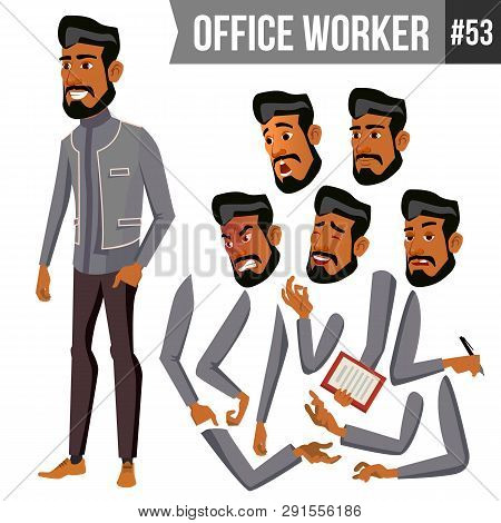 Old Arab Office Worker . Traditional Clothes. Islamic. Face Emotions, Various Gestures. Animation Cr