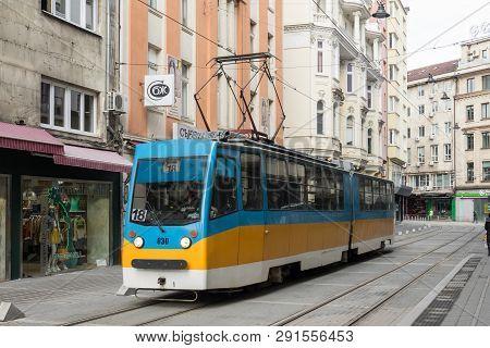 Sofia, Bulgaria - March 2, 2019;  City Tram On Graf Ignatiev Street In Sofia, Bulgaria. Sofia Is The