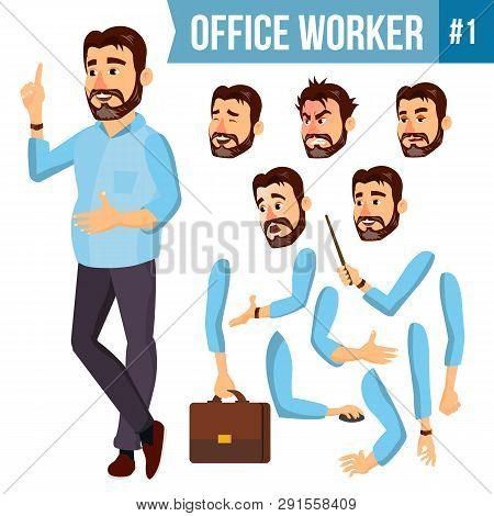 Office Worker . Face Emotions, Various Gestures. Animation Creation Set. Corporate Businessman Male.