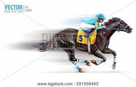 Jockey On Racing Horse. Champion. Hippodrome. Racetrack. Horse Riding. Derby. Speed. Blurred Movemen