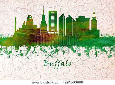 Skyline Of Buffalo, A City On The Shores Of Lake Erie In Upstate New York