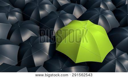 Pink umbrella between black umbrellas. Not like many. 3d rendering