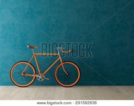 Blue bicycle on pink background 3D illustration