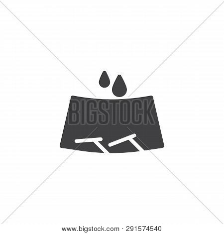 Windscreen Wipers And Rain Drops Vector Icon. Filled Flat Sign For Mobile Concept And Web Design. Ca
