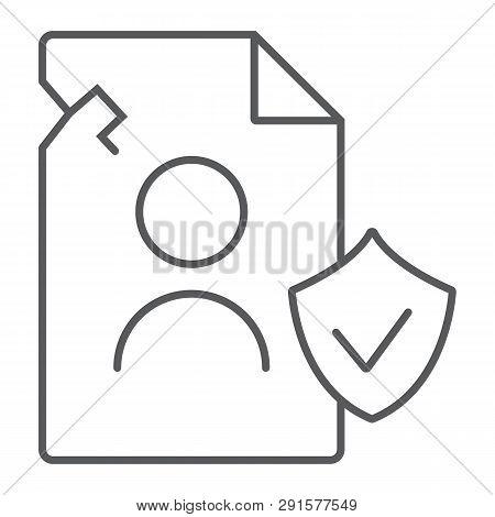Breach Personall Data Thin Line Icon, Private And Protect, Privacy Breach Sign, Vector Graphics, A L