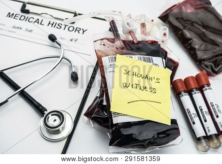 Note Warning That Sick Is Jehovah's Witness, Concept Of Denial Of Blood Transfusions, Conceptual Ima