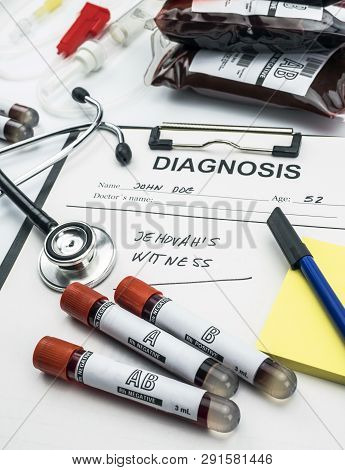 Diagnosis Form Witness Of Jehova, Concept Of Denial Of Blood Transfusions, Conceptual Image, Vertica