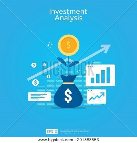 Financial Investment Analysis Concept For Business Marketing Strategy Banner. Return On Investment R
