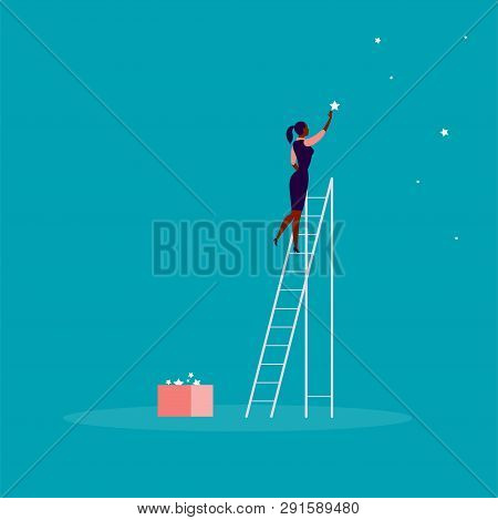 Vector Business Concept Illustration With Business Lady Standing On Stairs And Reaching Star On The