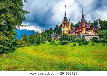 Famous Neo-renaissance Peles Castle And Ornamental Garden In Sinaia Carpathian Mountains In Europe.