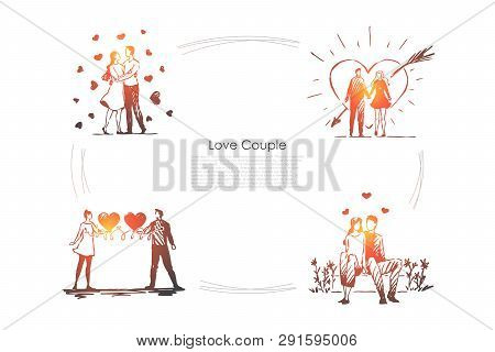 Love Couple - Loving Romantic Couple Walking Outdoor And Hugging Each Other Vector Concept Set. Hand